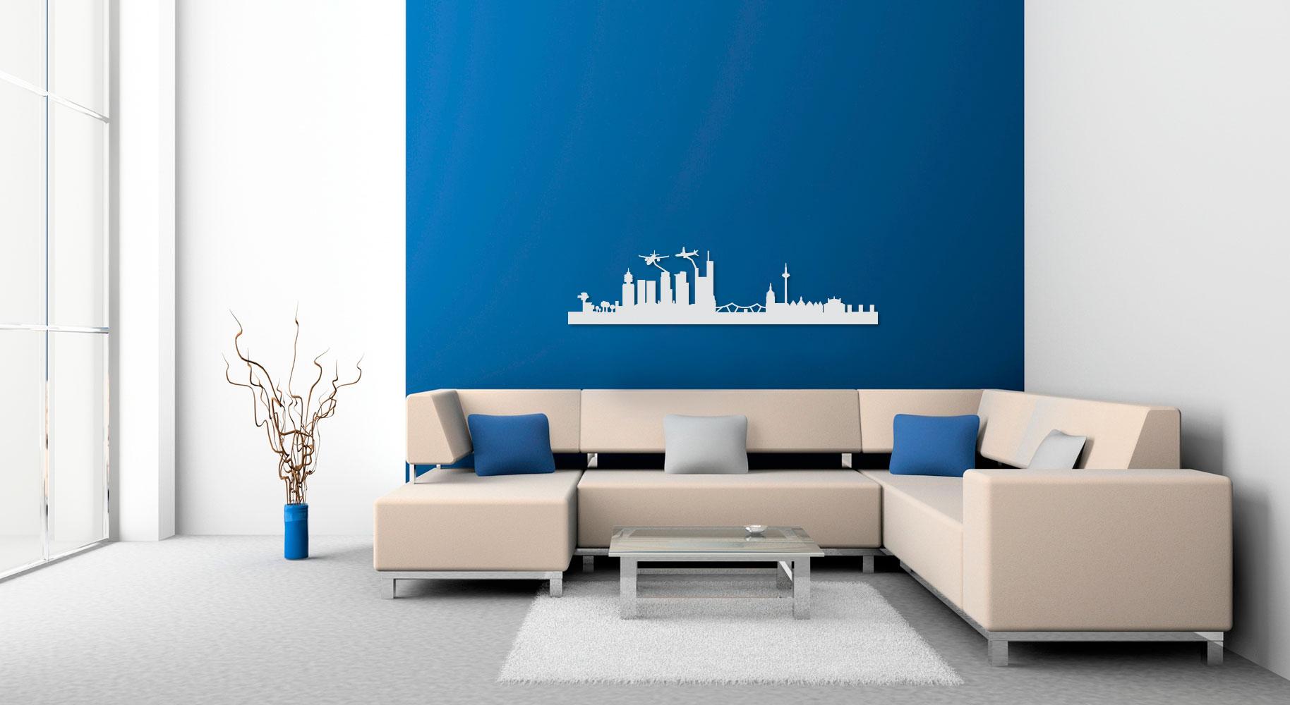 frankfurt wandtattoo aus stahl oder edelstahl optional mit led ab 39 99 wandtattoos aus. Black Bedroom Furniture Sets. Home Design Ideas
